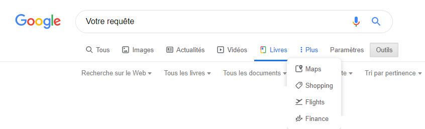 Options de recherche sur Google