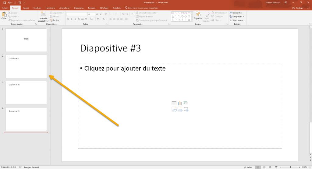 Exemple de scénarimage linéaire dans Microsoft PowerPoint